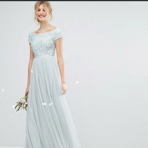 Sage sequin and tool formal dress